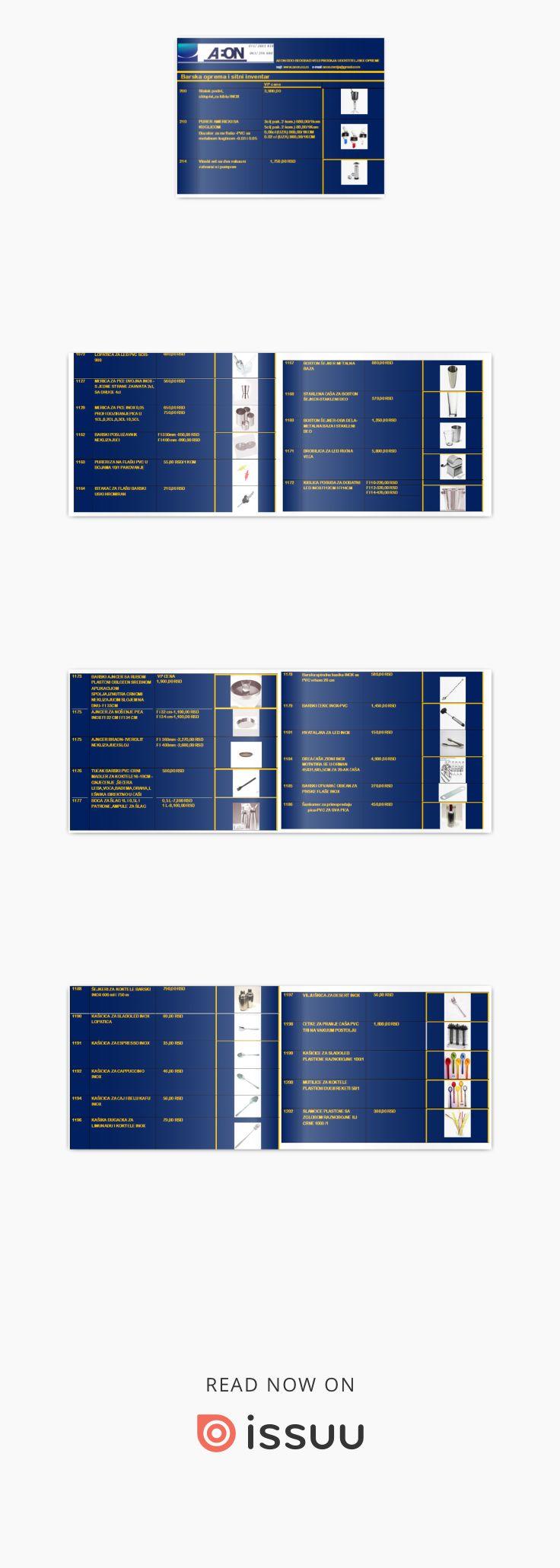 Barski i party program katalog aeon doo beograd AEON DOO BEOGRAD Veleprodaja ugostiteljskog sitnog inventara 111040 Beograd,Vladimira Gaćinovića14  Tel/fax: 011/2 661-618; Mob.:063-246-680 E-mail:aeon.mrdja@gmail.com  www.aeon.co.rs BARSKA OPREMA - SITNI INVENTAR - kibla inox za šampanj,kibla inox veća na stopi za više manjih boca, kiblice za dodatni led, kible plastične za više boca, hvataljka za led, šejkeri trodelni inox,Boston šejker,merice za piće profi I dvojne,boce za šlag ,patrone-ampule za šlag, viseći dozeri za piće bez brojača-sa brojačem ,dozeri za flašu sa kuglicom,pureri-izlivači inox- pvc,stireri-mutilice pvc za koktele,šankomeri, barski organizer-bar caddy,barske gume, ,barskosito- cediljka za koktele, ,kašičice inox za espresso-cappuccino-limunadu-čaj,štipaljke za krišku limuna,barski tučak-mudler, slamčicei kašičice za espresso PVC dekoracija za koktelei sladoledni kup, viseći nosači za čaše za šank I plafonski kolica barska inox,stubni I stoni stalak za posudu za hladjenje pića…